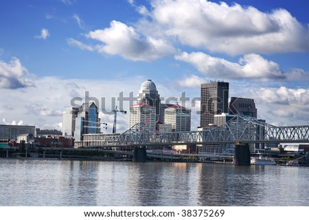 skyline of downtown Louisville Kentucky from across the Ohio River - stock photo