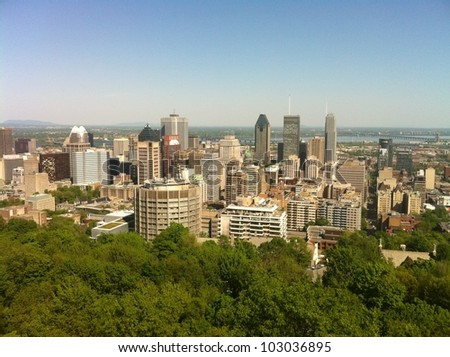Skyline of downtown Montreal, in Quebec, Canada - stock photo