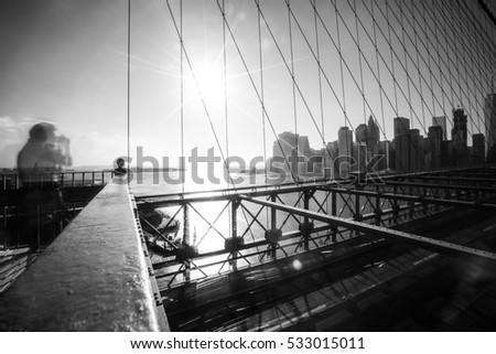 Skyline of downtown New York, Brooklyn Bridge and Manhattan in the afternoon sun light , New York City, USA
