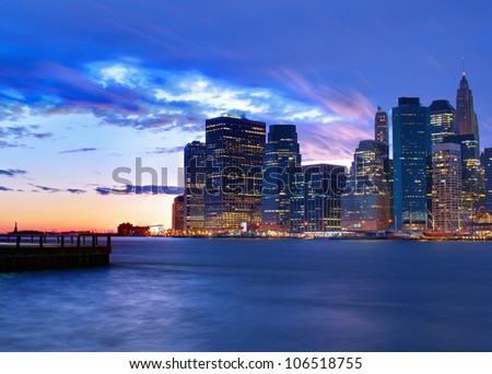 Skyline of downtown New York, New York, USA - stock photo