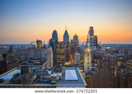 Skyline of downtown Philadelphia at sunset - stock photo