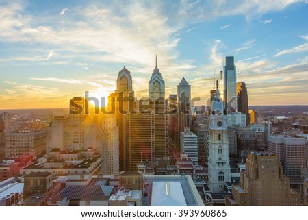 Skyline of downtown Philadelphia at sunset USA - stock photo