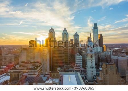 Skyline of downtown Philadelphia at sunset USA - stock photo