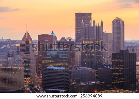 Skyline of downtown Pittsburgh at sunrise