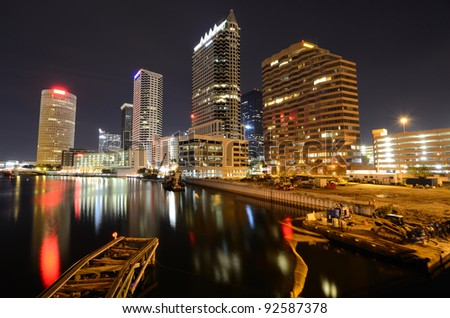 skyline of downtown Tampa, Florida - stock photo