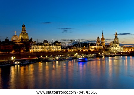 skyline of Dresden with Elbe River at night, saxony, germany - stock photo