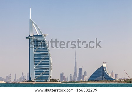 Skyline of Dubai from the water - stock photo