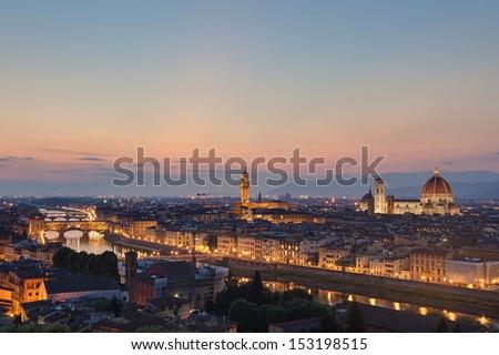Skyline of Florence Italy at dusk - stock photo