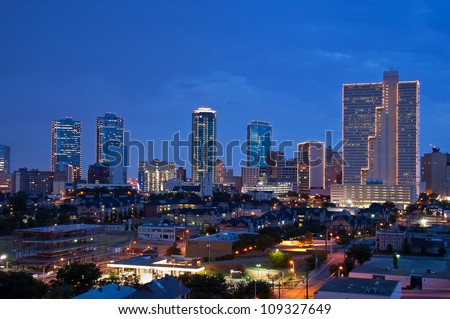 Skyline of Fort Worth Texas at night - stock photo