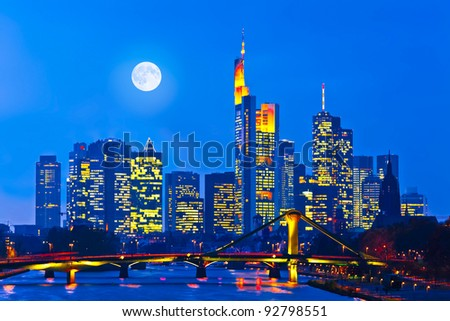Skyline of Frankfurt am Main (Germany) at night - stock photo