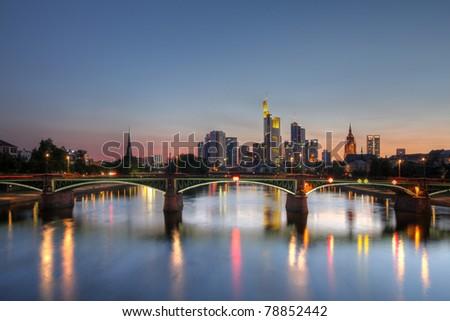 Skyline of Frankfurt am Main, Germany at twilight. HDR image. - stock photo