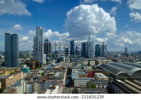 Skyline of Frankfurt under a partly cloudy sky, Germany - stock photo