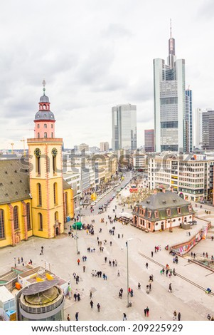 Skyline of Frankfurt with Hauptwache and the plaza - stock photo