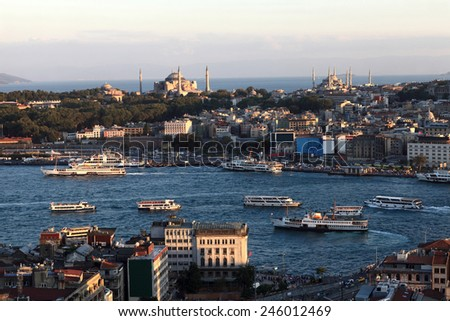 Skyline of Golden Horn from Galata tower in Istanbul, Turkey - stock photo