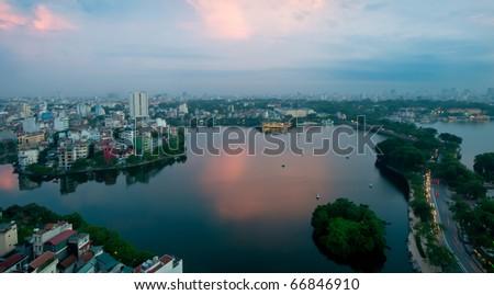 Skyline of Hanoi in Vietnam late in the evening - stock photo