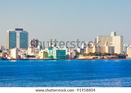 Skyline of Havana with several well known buildings as seen from the ocean - stock photo