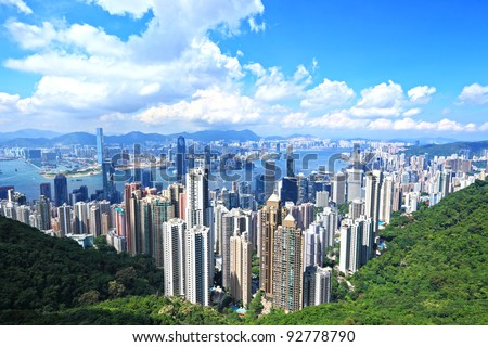 Skyline of Hong Kong City from the Peak - stock photo
