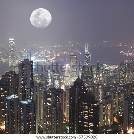 Skyline of Hong Kong City from Victoria Peak - stock photo