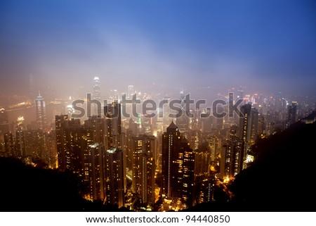 Skyline of HongKong City - stock photo