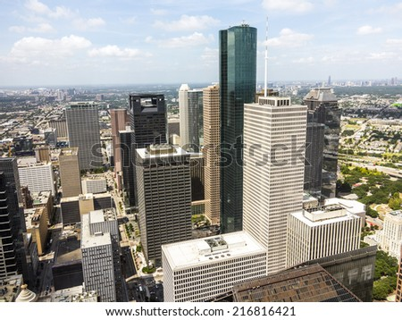 Skyline of Houston, Texas in daytime - stock photo