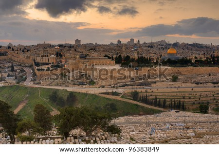 Skyline of Jerusalem, Israel at the Old City viewed from Mount of Olives. - stock photo