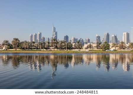 Skyline of Jumeirah Lakes Towers in Dubai, United Arab Emirates - stock photo