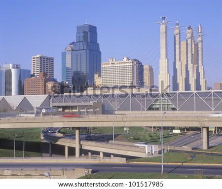 Skyline of Kansas City, Missouri with Interstate 10 - stock photo