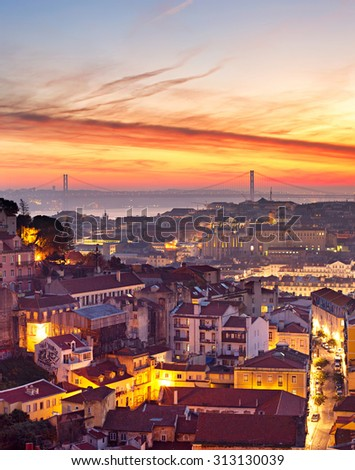 Skyline of Lisbon in the colorful sunset. Portugal