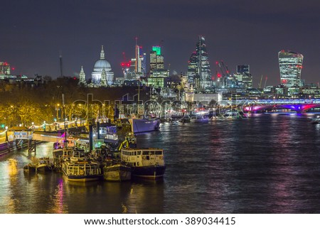 Skyline of London by night - stock photo