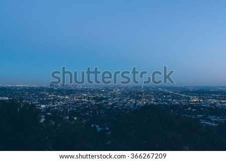 skyline of Los Angeles at night, USA. - stock photo