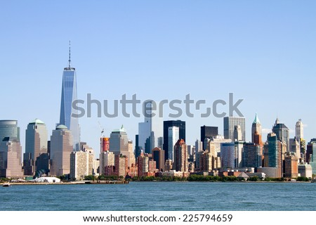 Skyline of lower Manhattan Island in New York City, New York, USA, as viewed from across the Hudson River. - stock photo