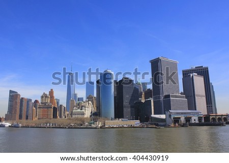 Skyline of Lower Manhattan over East River, New York City, USA.