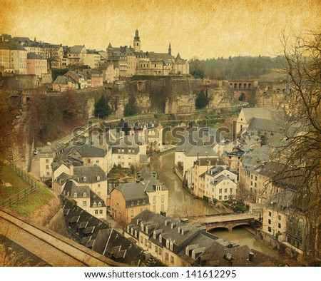 Skyline of Luxembourg City. Photo in retro style. Paper texture. - stock photo