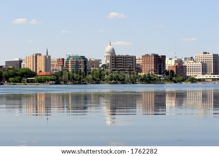 Skyline of Madison, Wisconsin - stock photo