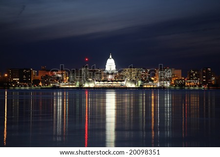 Skyline of Madison Wisconsin at night - stock photo