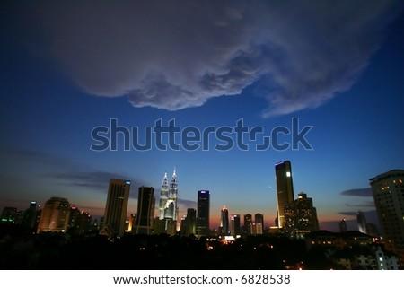Skyline of Malaysia's capital of Kuala Lumpur, 2005. - stock photo