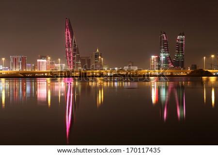 Skyline of Manama at night. Bahrain, Middle East - stock photo