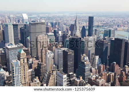 Skyline of Manhattan in New York City, United States - stock photo