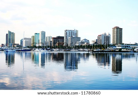 skyline of manila bay - stock photo