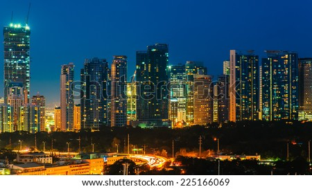 skyline of manila city, philippines - stock photo