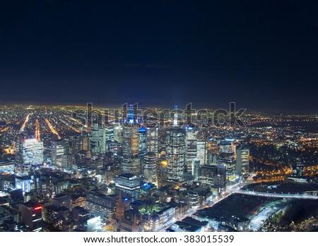 Skyline of Melbourne - stock photo