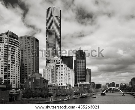 Skyline of Melbourne and Yarra River. Black and white style. - stock photo