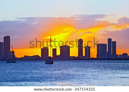 Skyline of Miami Florida, cityscape panorama of modern buildings at sunset and Biscayne Bay - stock photo