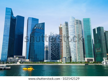 Skyline of modern business district in Singapore. - stock photo