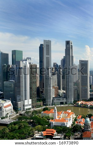 Skyline of modern business district, Singapore - stock photo
