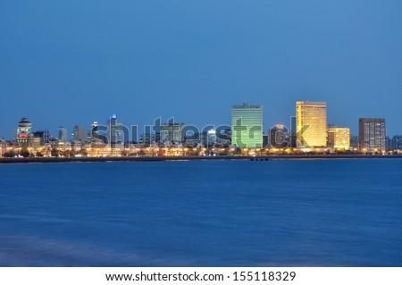 Skyline of Mumbai city at dusk. - stock photo