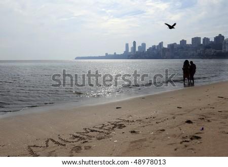 skyline of mumbai,india photo taken with a wide-angle lens - stock photo
