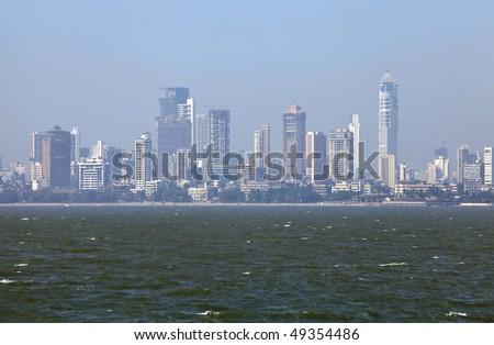 Skyline of Mumbai, India. -Smog in Mumbai- - stock photo