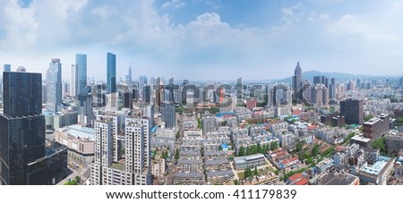 Skyline of Nanjing City on a skyscraper in China.