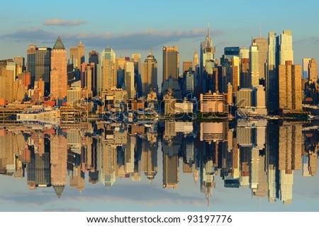 Skyline of New York city from across the Hudson River - stock photo